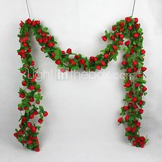 1 X Artificial Rose Silk Flower Green Leaf Vine Garland Home Wall Party Decor Wedding Decal - USD $9.99