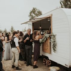 A Mobile Bar Will Make Your Reception Unforgettable - - Have booze, will travel. Every mobile bar on this list has drinks, bartenders, and fun set-ups that will be an unforgettable addition to your reception. Food Truck Wedding, Wedding Catering, Wedding Venues, Wedding Trends, Wedding Food Bar Ideas, Wedding Reception Ideas, Outdoor Catering, Table Wedding, Barn Weddings