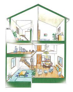 スキップフロアの間取り27のメリットとデメリットと7つの活用実例 | 注文住宅、家づくりのことならONE PROJECT House Plans, Miniature, Wallpapers, How To Plan, Home Decor, Decoration Home, Room Decor, Miniatures, Wallpaper