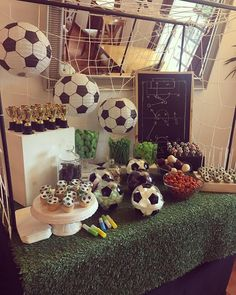 Soccer Birthday Parties, Soccer Party, Candy Bar Party, Candy Table, Soccer Centerpieces, Table Decorations, Ideas Decoracion Cumpleaños, Christening, Party Themes