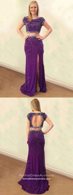 Long Prom Dresses Two Piece, Mermaid Prom Dresses Purple, Elegant Evening Dresses With Sleeves, Open Backs Graduation Dresses for Teens Sparkly Prom Dresses, Prom Dresses Two Piece, Simple Prom Dress, Elegant Prom Dresses, Prom Dresses With Sleeves, Perfect Prom Dress, Evening Dresses, Formal Dresses, Cheap Prom Dresses Online