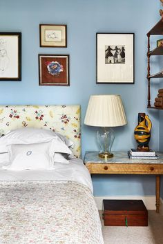This young designer's Battersea flat captures the essence of an English cottage - Artworks by Vanessa Garwood, Phoebe Dickinson and Paula Rego hang above the bed. Bedroom Wall Colors, Bedroom Decor, English Cottage Interiors, American Decor, Country Style Homes, Farrow Ball, Do It Yourself Home, Girl Room, House Colors