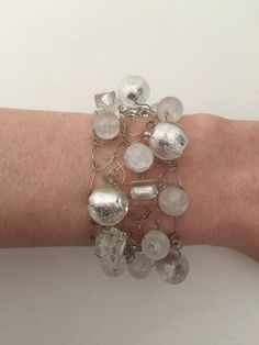 7 Knitted Silver Wire Bracelet With Crystal Quartz by CatDKnits