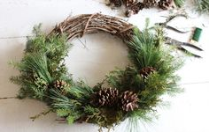 I love adding sprigs of fresh pine greenery around the house and outside. Pine branches are perfect in the winter for adding festive greenery to any space. Whe