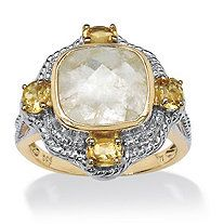 3/4 TCW Oval-Cut Citrine and Cushion-Cut Golden Rutile 14k Yellow Gold over Silver Ring