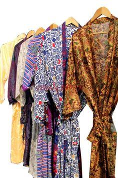 Vintage Woman's Silk Sari Kimono Cover Up Jacket Bathrobe Wholesale Lot 20Pcs #Handmade #Kimono