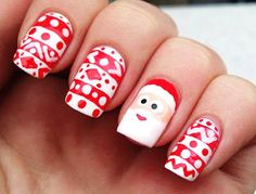Party Nail Polish: Cute Cartoon Santa Clause Christmas Nail Art - Inspiring & lovely Nail Polish with Cute Nail Polish,Christmas Nail Polish,Print Nail Polish, Love it!