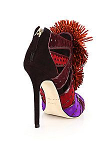 Brian Atwood - Vivyan Colorblock Suede Pom-Pom Sandals