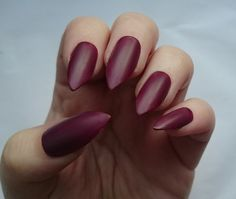 Burgundy Matte Fake Nails / For Her / Maroon by NicolasNails14