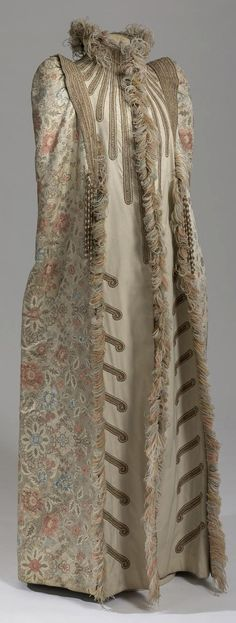 Mantle belonging to Empress Maria Fyodorovna. Made by Emile Pingat, Paris, France. Circa 1891-92. Silk brocade, satin, cloth, ostrich feathers, galloon. Collection of State Hermitage Museum.