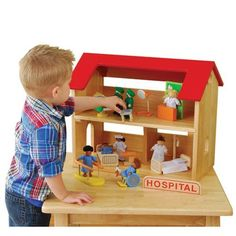 Complete Hospital Play Set by ConstructivePlaythings. $174.99. Doctor and medical worker figures, hospital beds, surgery table, hospital sign and even the wooden structure to play in complete this set. 28 pc. Set. Ages 3 yrs. +.
