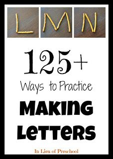 AMAZING resource....definitely look into.   (This link offers lists of manipulatives and tools to practice forming letters.