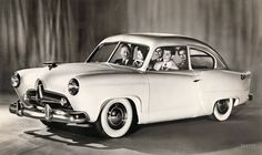 """Publicity photo from late 1950 for the Kaiser """"Henry J,"""" a small car (named after company chairman Henry J. Kaiser) that was a few years ahead of its time. By 1954, the Henry J had tootled off into oblivion Shorpy Historical Photo Archive :: J-Ride: 1950"""