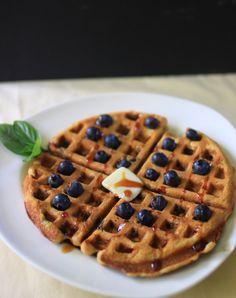 Blueberry Buttermilk Basil Waffles