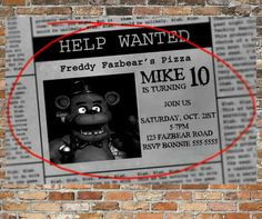 Personalized Five Nights At Freddys Invitations And Thank You Cards Printable