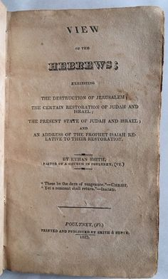 View Of The Hebrews 1823 Ethan Smith Lost Tribes North American Indians 1st ED.