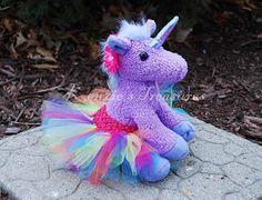 Rainbow Unicorn Plush with Removable Tutu and Daisy Hair Clip ~ Purple Or White Unicorn on Etsy, $12.00