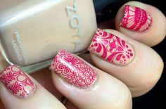 Nude Red stamping nails