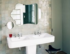 This fabulous double sink pedestal would work great in a small bathroom
