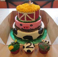 2nd birthday farm cake