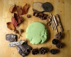 "Apple & cinnamon homemade play dough from Cathy James - make a batch of play dough, but swap the water for apple juice & add ground cinnamon & a squeeze of green paint ("",)"