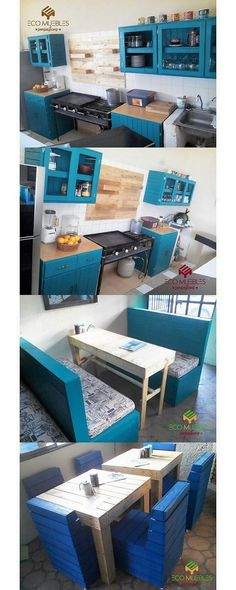 Custom designed pallet kitchen furniture is shown out for you right into this image. This kitchen creation is featuring you out with the cabinets in different portions that are roughly designed in an old designing approaches. Make it part of your house kitchen areas right now!