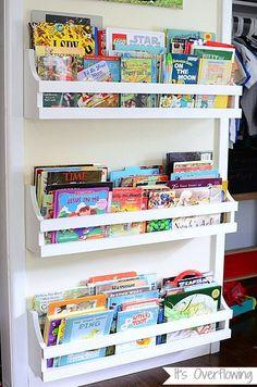 DIY Hanging Kids Bookshelves Tutorial from It's Overflowing