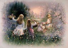 little girls in a field of flowers