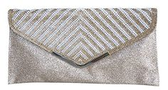 Chicastic Glitter Beaded Formal Casual Envelope Clutch Pu...