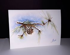 Diy Christmas Tags, Painted Christmas Cards, Watercolor Christmas Cards, Christmas Drawing, Christmas Paintings, Watercolor Cards, Christmas Greeting Cards, Christmas Art, Penny Black Cards