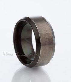Tungsten Wedding Band,Gun Metal,Tungsten Carbide,Two Tone,Beveled Edges,Engagement Ring,Anniversary,His,Hers,8mm