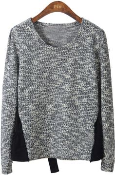 Black Long Sleeve Contrast Mesh Yoke Pullovers Sweater