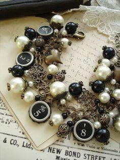 Typewriter Key Jewelry  Antiqued Brass Ivory by PreciousPastimes, $152.50