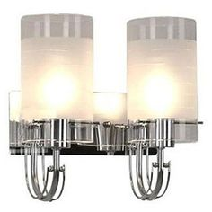 80W Modern Wall Light with 2 Cylinder Frosted Glass Shades in Polished Chrome – LightSuperDeal.com