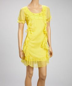 Another great find on #zulily! Yellow Floral Ruffle Scoop Neck Dress #zulilyfinds