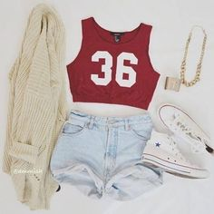 red crop top, light wash high-waisted shorts, cream cardigan white converse, but for me take away tht sweater Tumblr Outfits, Mode Outfits, Girl Outfits, Casual Outfits, Fashion Outfits, Converse Fashion, Teenage Outfits, Outfits 2016, Converse Style