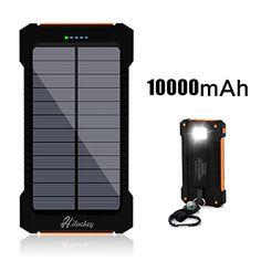 Solar Charger, Hiluckey 10000mAh Solar Power Bank Waterpr…
