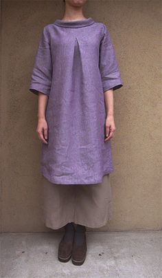 Japanese sewing pattern: N77 A-line Tunic with Roll Collar at www.lin-net.com