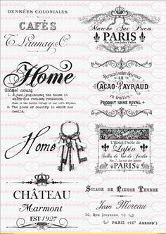 8 Furniture tattoo`s nostalgia Shabby Transparent 1454 by Doreen`s Bastelstube - K . - 8 Furniture tattoo`s nostalgia Shabby Transparent 1454 by Doreen`s Bastelstube – Creative & Excep - Vintage Pictures, Vintage Images, French Vintage, Shabby Vintage, Printable Labels, Printables, Silkscreen, French Typography, French Signs