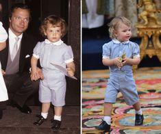 Pappa prins Carl Philip 1982 och lillprins Alexander nästan på dagen 36 år senare. Lika söta båda två!