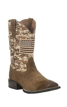 Ariat Men's Mocha with Sand Camo Upper with American Flag Patch Western Square Toe Boots | Cavender's