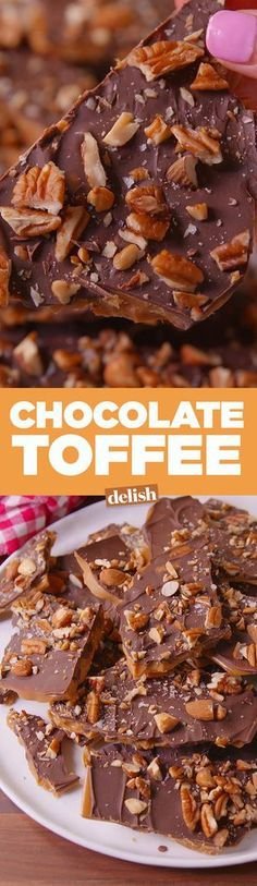 Make this Chocolate Toffee for everyone on your list.Make this Chocolate Toffee for everyone on your list. Christmas Desserts, Holiday Treats, Christmas Baking, Holiday Recipes, Christmas Chocolates, Christmas Treats, Candy Recipes, Sweet Recipes, Dessert Recipes