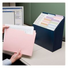 Create catergories for greeting cards that float all over and keep them contained all in one place.  Easy to find and well contained Desk Organisation Student, Cubicle Organization, Receipt Organization, Sticker Organization, Dollar Tree Organization, Medicine Organization, Office Organization At Work, Organizing Paperwork, File Cabinet Organization