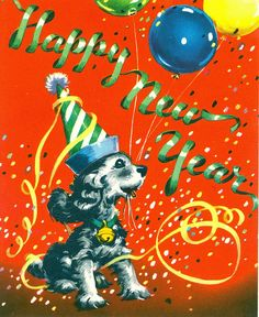 Vintage new years card diy new years eve party pinterest vintage new year greeting card retro mid century cocker spaniel m4hsunfo