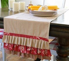 ticking and toile table runner