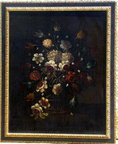 Paire De Bouquet De Fleurs Sur Un Entablement Huiles/toile Ecoles Italienne 18ème