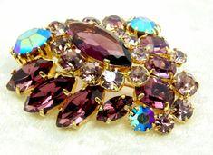 Vintage Unsigned Purple Schreiner Brooch by imagiLena on Etsy