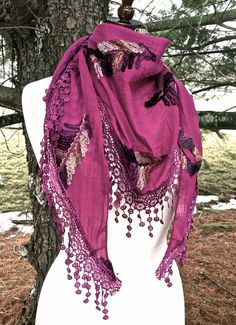 SCARF SARONG embroidery paisley triangle lace fringe hot pink gray tan 62x22 NEW #Import #trianglescarfsarong
