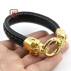 Jewelry New Leather gold Skull Bracelets Stainless Steel Men Bracelets Fashion Jewelry bracelets for women