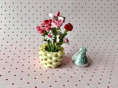 Miniature Quilling Flowers and Hearts in Paper Basket